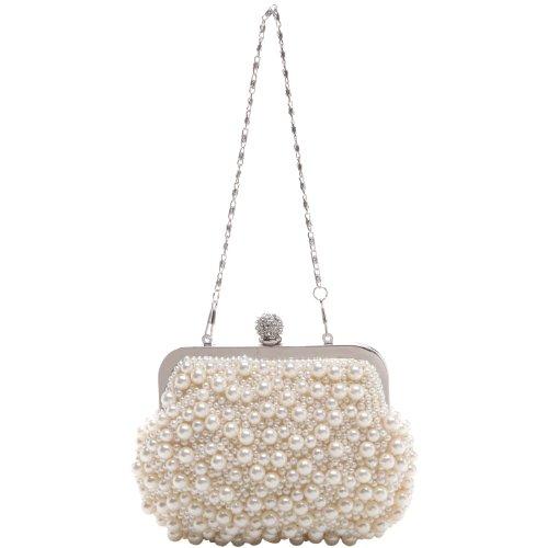 MG Collection Handmade White Pearl Bead Rhinestone Clasp Mini Clutch Evening Bag