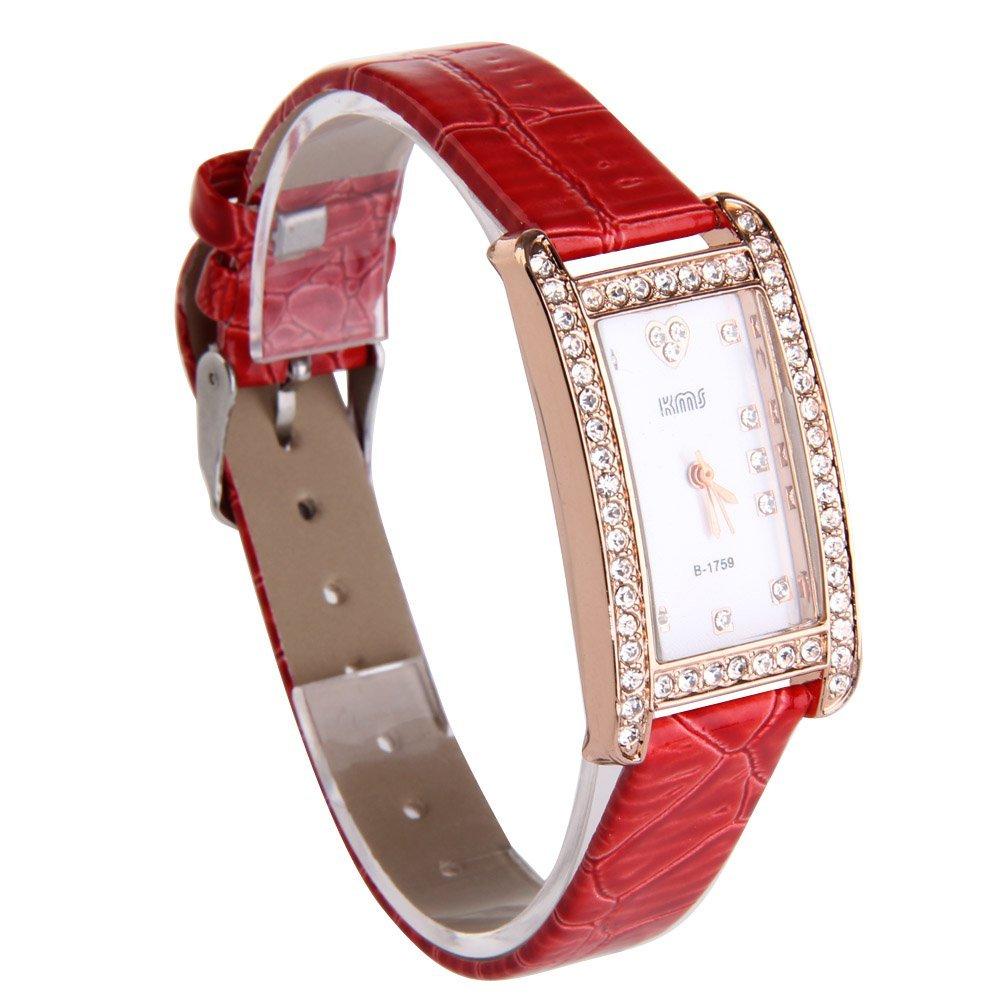 Vktech Fashion Women Bling Rhinestone PU Leather Strap Rectangle Wrist Watch (Red)