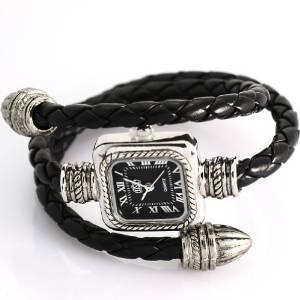 uSs Black Cable Leather Braided Wrap Around Ladies Womens Bracelet Bangle Wrist Watch