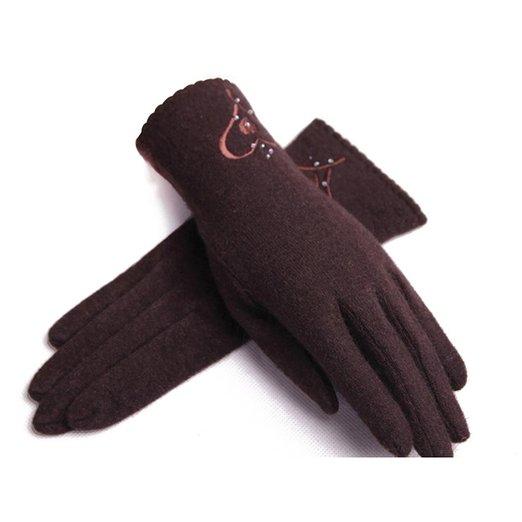 ZLYC Women Lady Fashion Winter Handmade Warm Wool Embroidery Pattern Knit Gloves