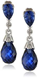 10k White Gold Created Gemstone and Diamond Earrings (0.02 cttw, H-I Color, I2-I3 Clarity)
