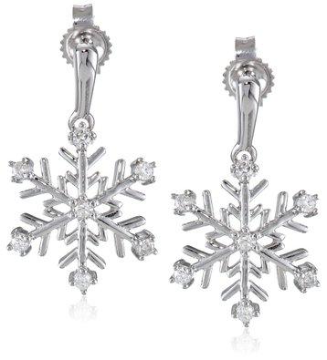 10k White Gold Diamond Snowflake Earrings (1/10 cttw, I-J Color, I2-I3 Clarity)