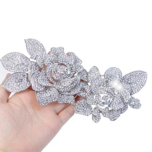 Bridal 7.8 Inch 2 Rose Flower Brooch Clear AB Austrian Crystal Silver-Tone