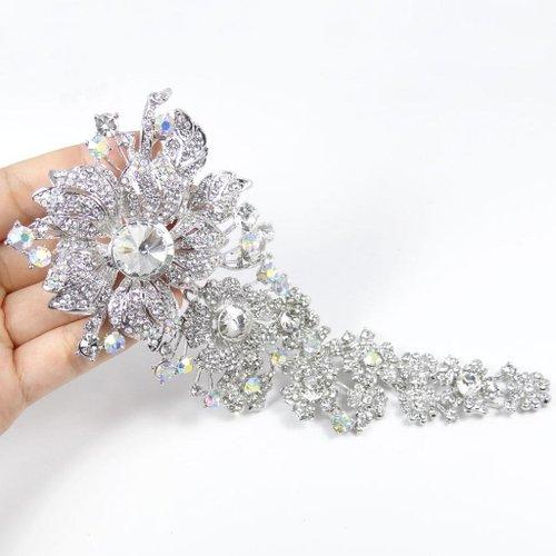 EVER FAITH Bridal Silver-Tone 7.6 Inch Flower Leaf Brooch Clear Austrian Crystal A06316-13