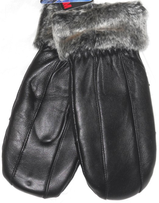 Black Leather Fashion Mittens with Rabbit Fur Trim Small/Med
