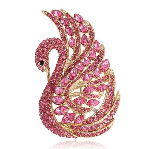 EVER FAITH Gold-Tone Swan Bird Brooch Pink Austrian Crystal A13157-7