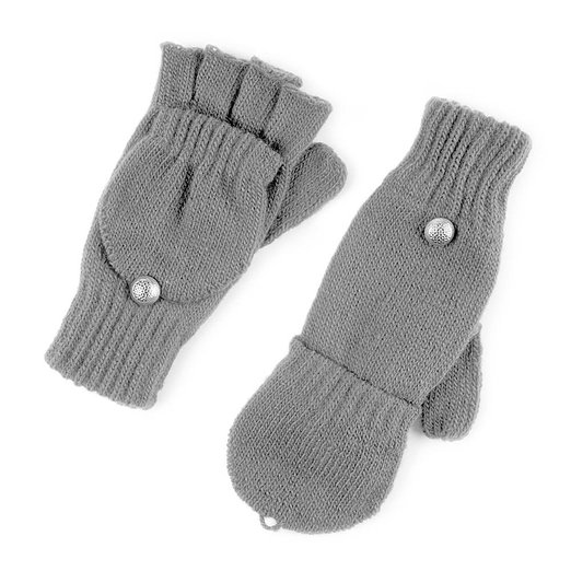 Icing Womens Gray Knit Convertible Gloves