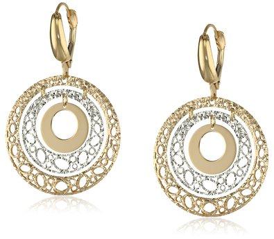14K Two-Tone Italian Yellow Gold Fancy Filigree and High Polish Circle Dangle Earrings