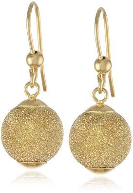 14k Italian Yellow Gold Laser Finished Dangle Ball Earrings