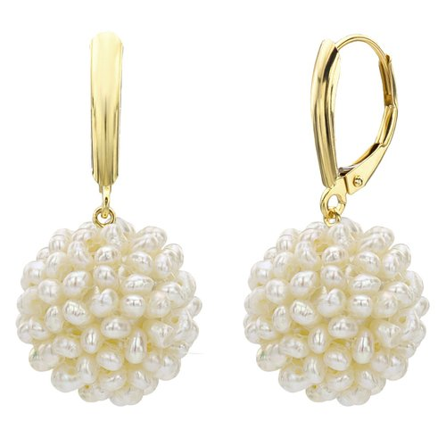 14k Yellow Gold 17-18mm Snowball Design White Cultured Freshwater HighLuster Pearl Leverback Earring