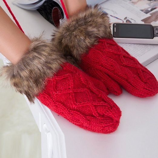 Yasson Women Winter Faux Fur Wrist Halter Thicking Mittens Knitted Gloves