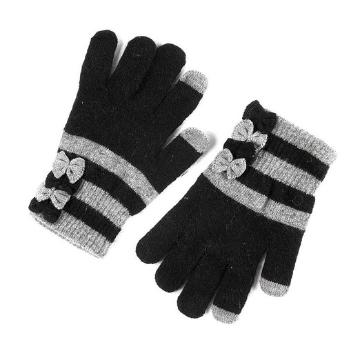 Icing Womens Black and Gray Stripes with Bows Touch Screen Gloves