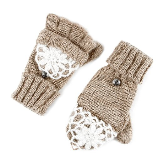 Icing Womens Knit Convertible Gloves with Crochet Overlay