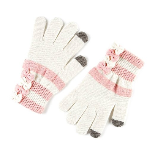 Icing Womens Ivory and Pink Stripes with Bows Touch Screen Gloves