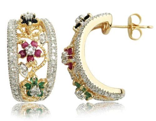 18k Yellow Gold Plated Sterling Silver Genuine Ruby, Sapphire, and Emerald Flower and Leaf Earrings