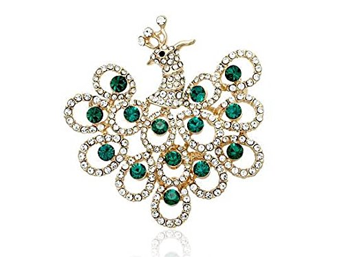 Wedding Accessories Green Crystal 18K Gold Plated Dancing Peacock Brooch Pin Jewelry