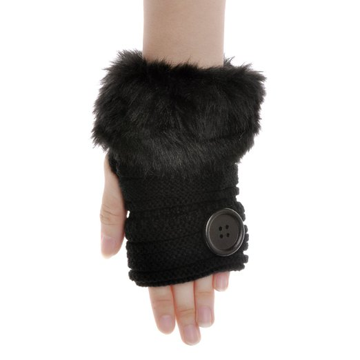 ZLYC Women Classic Faux Fur Button Hands Wrist Fingerless Stretchy Knit Gloves