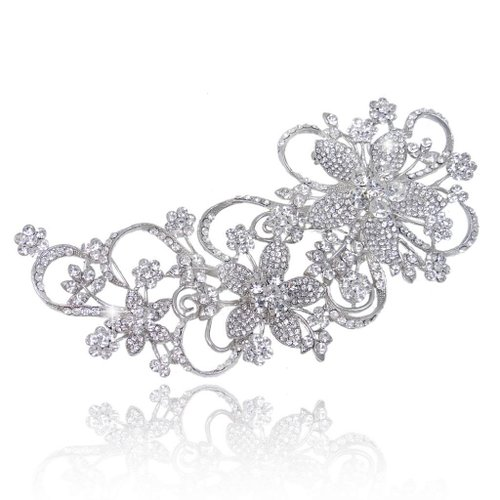 Bridal 6.5 Inch Teardrop Floral Petal Brooch Clear Austrian Crystal Silver-Tone