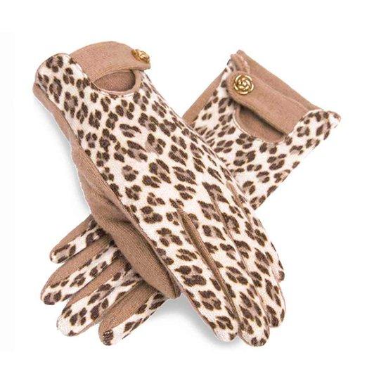 ZLYC Women Handmade Warm Wool Leopard Print Cut Out Design Fashion Knit Gloves