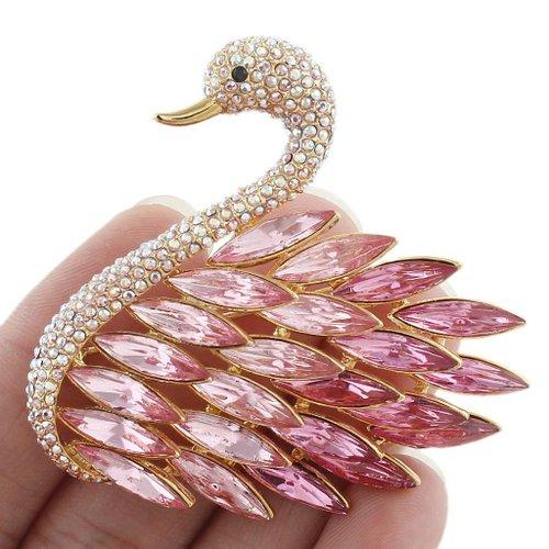 EVER FAITH High Quality Elegant Swan Pink Brooch Austrian Crystal Gold-Tone N04304-1