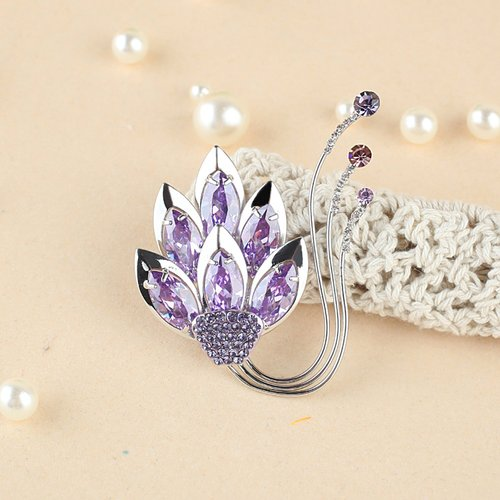 Yoursfs Noble 18K White Gold Plated Use Austrian Crystal Lotus Amethyst Brooch