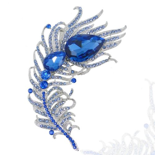 EVER FAITH 4.3 Inch Bridal Silver-Tone Peacock Plume Teardrop Blue Austrian Crystal Brooch A07024-17