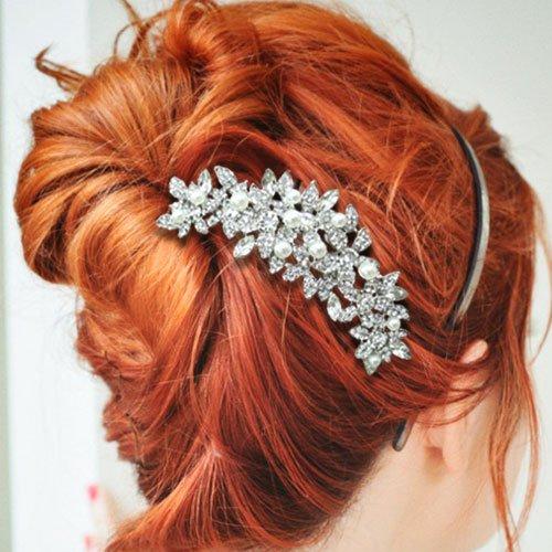 EVER FAITH Bridal Silver-Tone Orchid Simulated Pearl Hair Comb Austrian Crystal Clear N01265-1