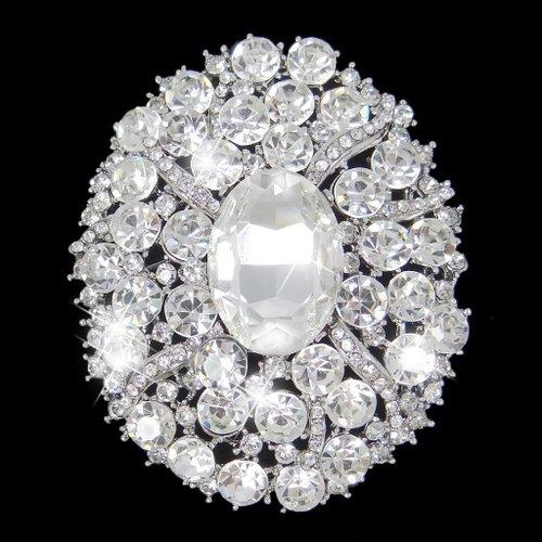 EVER FAITH Bridal Silver-Tone Flower Oval Clear Austrian Crystal Brooch Pendant A02682-1