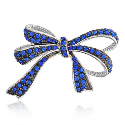 Bling Jewelry Blue Sapphire Color Crystal Ribbon Bow Brooch Pin
