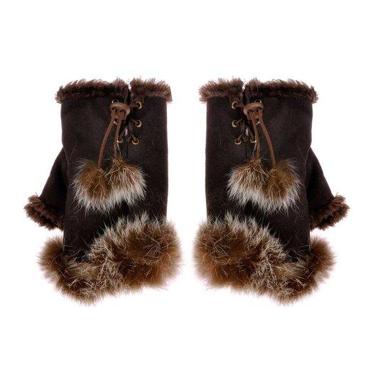 ZLYC Women Teen Classic Winter Warm Rabbit Fur Hands Wrist Fingerless Gloves