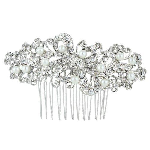 EVER FAITH Bridal Silver-Tone Flower Cream Simulated Pearl Clear Austrian Crystal Hair Comb N00407-1