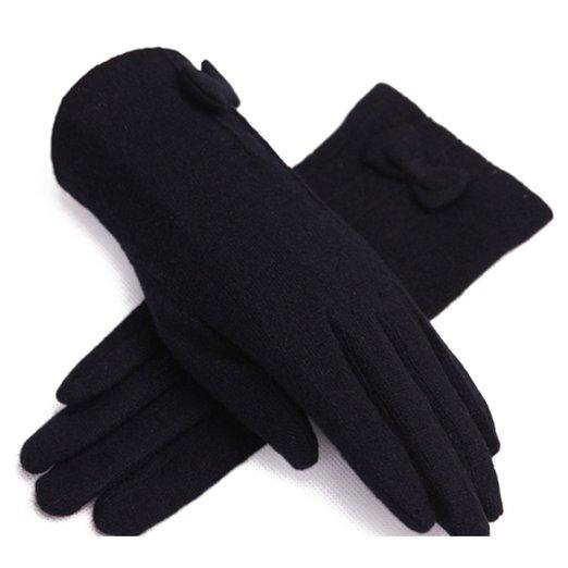ZLYC Women Lady Fashion Handmade Warm Wool Two-Tone Fashion Knit Bowknot Gloves