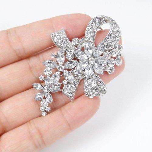 EVER FAITH Wedding Silver-Tone Bowknot Flower Clear Austrian Crystal Brooch N01521-1
