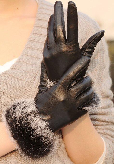 WARMEN Luxury Genuine Soft Nappa Leather Gift Gloves with 100% Rabbit Fur Cuff