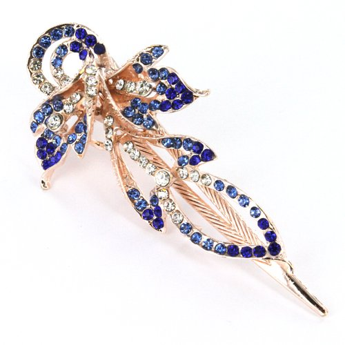 Flower Theme Rose Gold Color Hair Clip Jewelry in Elegant Design, Faceted Blue, Aqua, and Clear Rhinestones - Approx. 4.5'' in Length