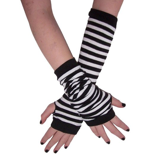 Womdee(TM) 1 Pair Gothic Striped Anime Cosplay Arm Warmers Gloves With Accessory