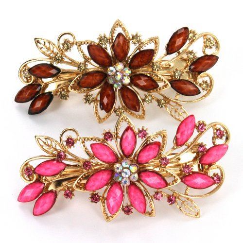 Flower Design Hair Clip Jewelry - Pink and Yellow Crystals - Approx. 4 Inches Length - Sold as Set of 2