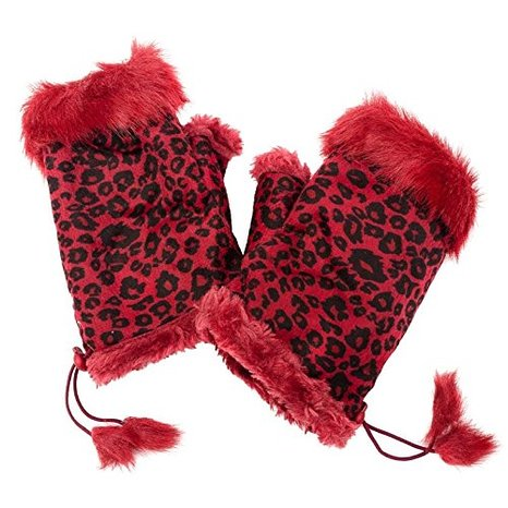 Leopard Print Faux Fur Fingerless Gloves