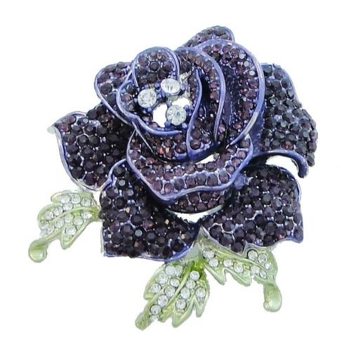 EVER FAITH Beautiful Rose Flower Brooch Amethyst Color February Birthstone A04951-11
