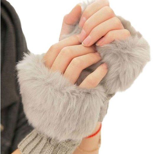 King Ma Women Fingerless Fur Winter Warm Wrist Knitted Wool Mitten Gloves
