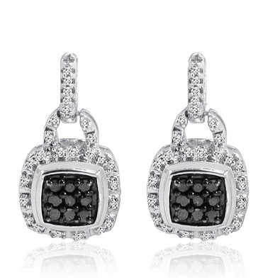 1/3ct tw Black and White Diamond Square Shape Dangle Earrings in Sterling Silver