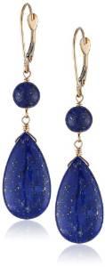 Lapis Lazuli Flat Teardrop and Round Bead on 14k Gold Leverbacks Drop Earrings