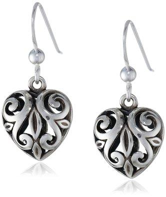 Sterling Silver Open Filigree Heart Dangle Earrings