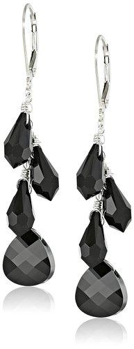 Sterling Silver and Swarovski Elements Multi-Teardrop Earrings