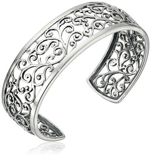 "Sterling Silver Filigree Cuff Bracelet, 6.5"""