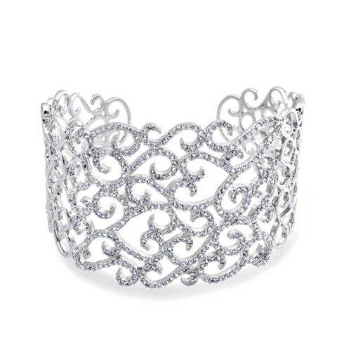 Bling Jewelry Silvertone Cubiz Zirconia Pave Swirl Bridal Cuff Bracelet