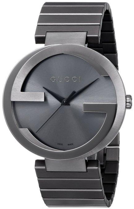 Gucci Men's YA133210 Gucci Interlocking Collection Analog Display Swiss Quartz Grey Watch
