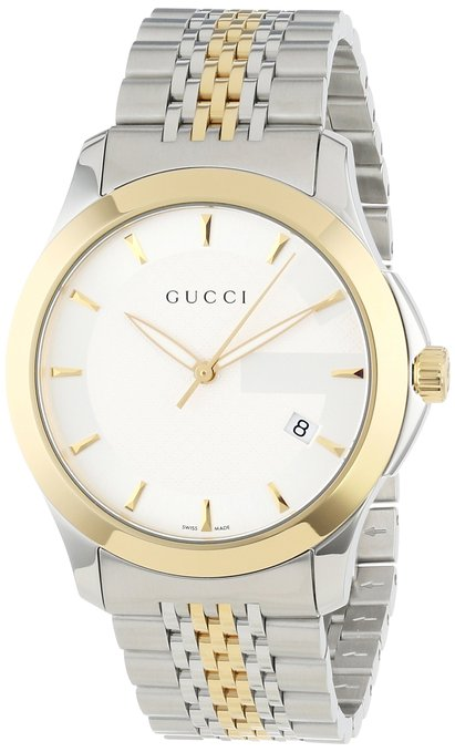 Gucci Men's YA126409 Gucci timeless Steel and Yellow PVD Silver Dial Watch