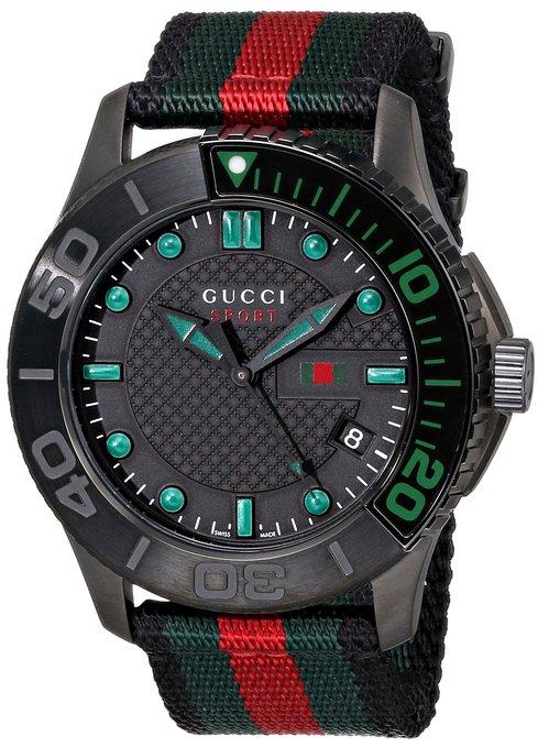 """Gucci Men's YA126229 """"G-Timeless"""" Dive Black Dial Nylon Strap Watch"""