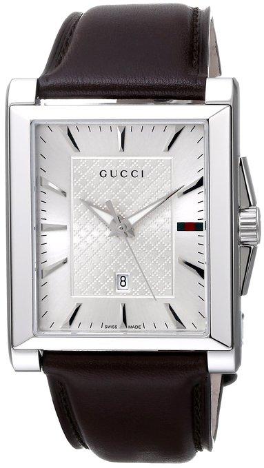 "Gucci Men's YA138405 ""G-Timeless"" Rectangle Analog Display Swiss Quartz Silver Watch"